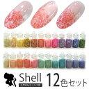 ジェルネイル クラッシュシェル12色セット|ストーンセット パーツ ネイルパーツ セット ジェル ネイル用品 ネイル セ…