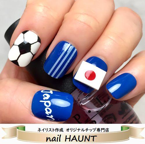 ☆★サッカーブルー×ボール&3D日の丸★☆サッカー日本代表ブルー×3本ラインサッカーボールペイントアート立体3Dの日の丸フラッグをオンして観戦しよう♪がんばれ日本!サッカー応援ネイル短いつけ爪☆使いやすいベリーショート