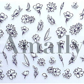 ネイルシール 花 フラワー アメイリー ネイルシール No.3-23 フラワースケッチ(白黒)