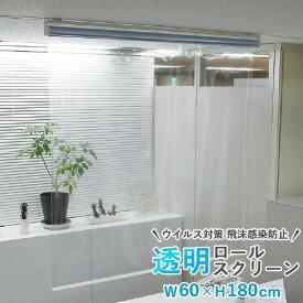 透明シート 透明ロールスクリーン タチカワブラインド 規格品 幅60cm 高さ180cm