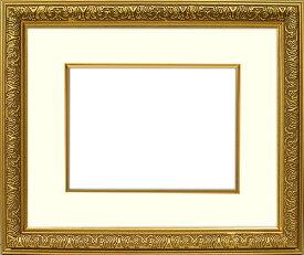 写真用額縁 シャイン/ゴールド A4(297×210mm)専用☆前面ガラス仕様☆マット付き(金色細縁付き)【写真額縁】