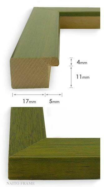 押し花額縁歩-8/オリーブ半切サイズ(ガラス寸法542×421mm)【木製額縁】【押し花用額縁】側面画像