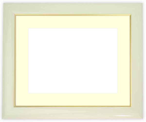 水彩額 J501/白 水彩F8(455×380mm)専用 ☆前面ガラス仕様☆マット付き