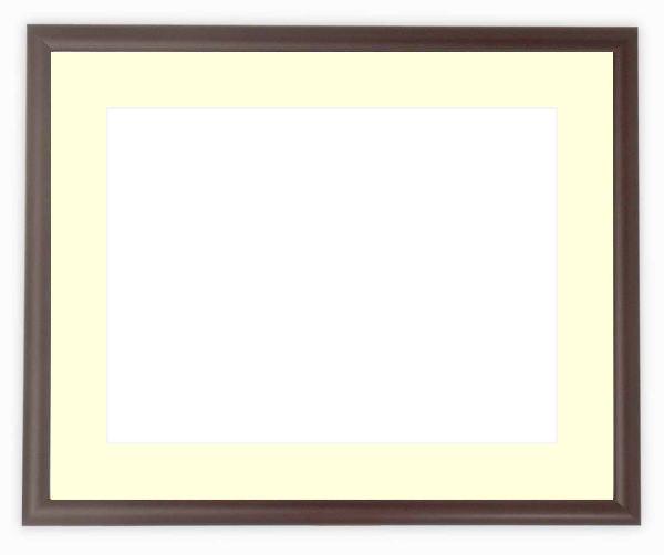 【キズあり品】水彩額 J型/マホガニー 水彩F8(455×380mm)専用 ☆前面ガラス仕様☆マット付き