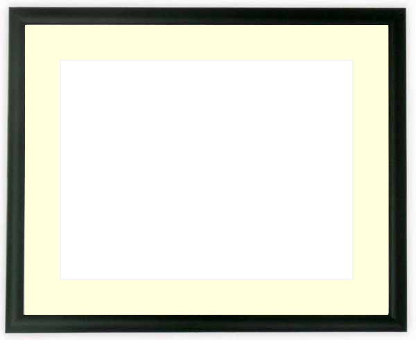 【キズあり品】水彩額 J型/黒 水彩F8(455×380mm)専用 ☆前面ガラス仕様☆マット付き
