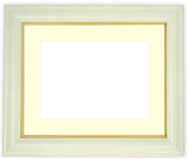 水彩額 工芸型/白 水彩F8(455×380mm)専用 ☆前面ガラス仕様☆マット付き