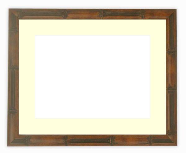 水彩額 竹フレーム/茶 水彩F8(455×380mm)専用 ☆前面ガラス仕様☆マット付き