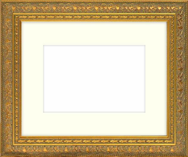 水彩額 420型/ゴールド 水彩F8(455×380mm)専用 ☆前面ガラス仕様☆マット付き 【模様・色に仕様変更有り】