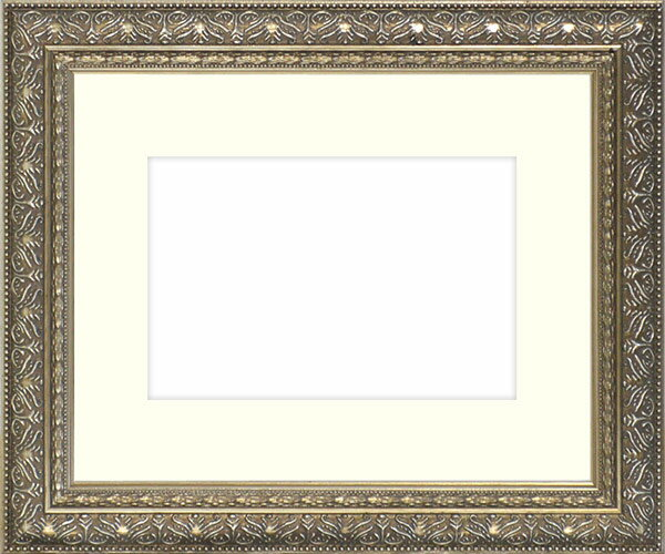 水彩額 420型/シルバー 水彩F8(455×380mm)専用 ☆前面ガラス仕様☆マット付き 【模様・色に仕様変更有り】