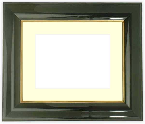 水彩額 681/黒 水彩F8(455×380mm)専用 ☆前面ガラス仕様☆マット付き