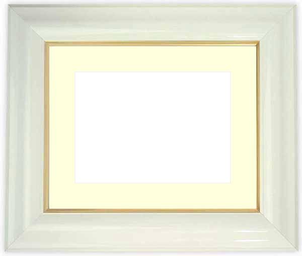 水彩額 681/白 水彩F8(455×380mm)専用 ☆前面ガラス仕様☆マット付き
