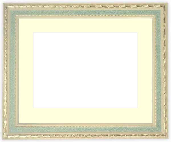 水彩額 5663/グリーン 水彩F8(455×380mm)専用 ☆前面ガラス仕様☆マット付き