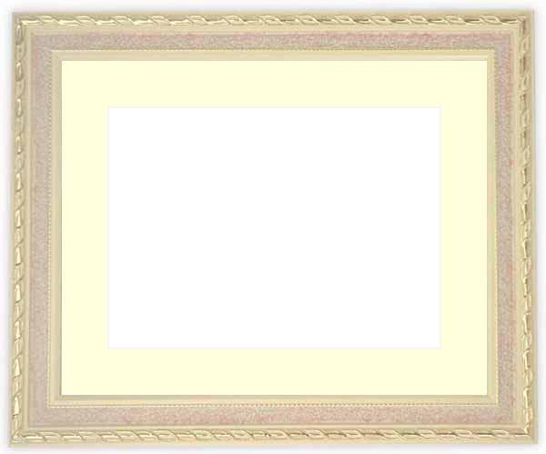 水彩額 5663/ピンク 水彩F8(455×380mm)専用 ☆前面ガラス仕様☆マット付き