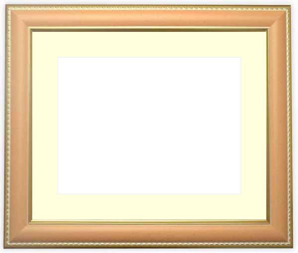 水彩額 9614/オレンジ 水彩F8(455×380mm)専用 ☆前面ガラス仕様☆マット付き