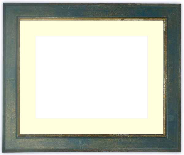 水彩額 9650/ブルー 水彩F8(455×380mm)専用 ☆前面ガラス仕様☆マット付き