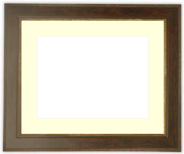 水彩額 9650/ブラウン 水彩F8(455×380mm)専用 ☆前面ガラス仕様☆マット付き