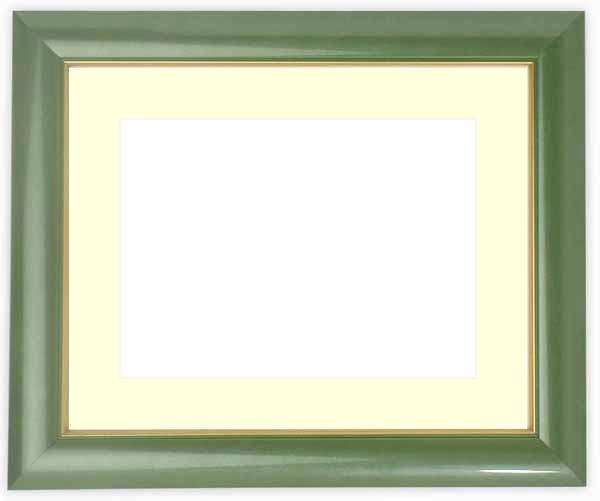 水彩額 30009/パールグリーン 水彩F8(455×380mm)専用 ☆前面ガラス仕様☆マット付き