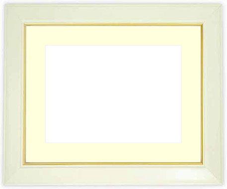 水彩額 No.3/白 水彩F8(455×380mm)専用 ☆前面ガラス仕様☆マット付き