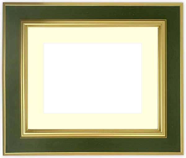 【塗装ムラ・キズあり品】水彩額 9583/Gグリーン 水彩F8(455×380mm)専用 ☆前面ガラス仕様☆マット付き