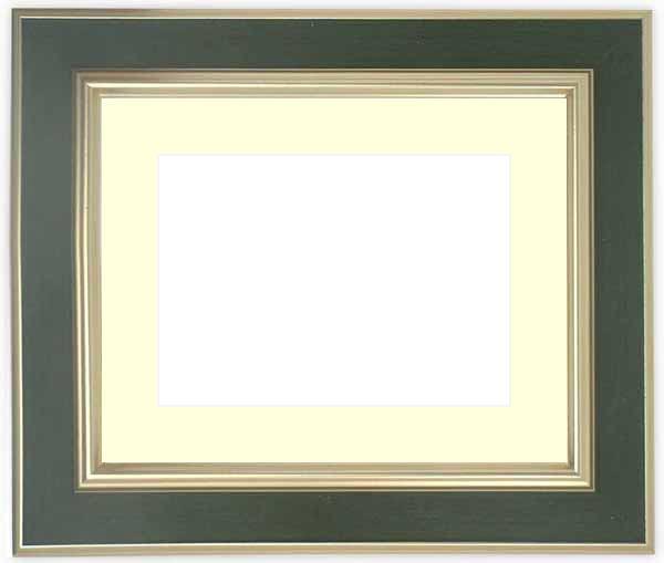 【塗装ムラ・キズあり品】水彩額 9583/Sグリーン 水彩F8(455×380mm)専用 ☆前面ガラス仕様☆マット付き