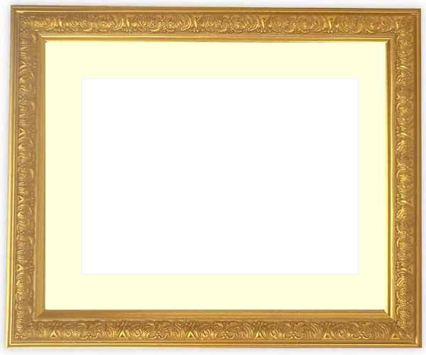 水彩額 シャイン/ゴールド 水彩F8(455×380mm)専用 ☆前面ガラス仕様☆マット付き