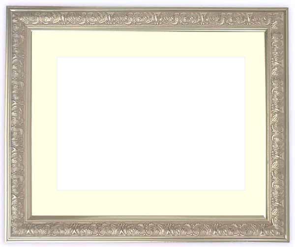 水彩額 シャイン/シルバー 水彩F8(455×380mm)専用 ☆前面ガラス仕様☆マット付き