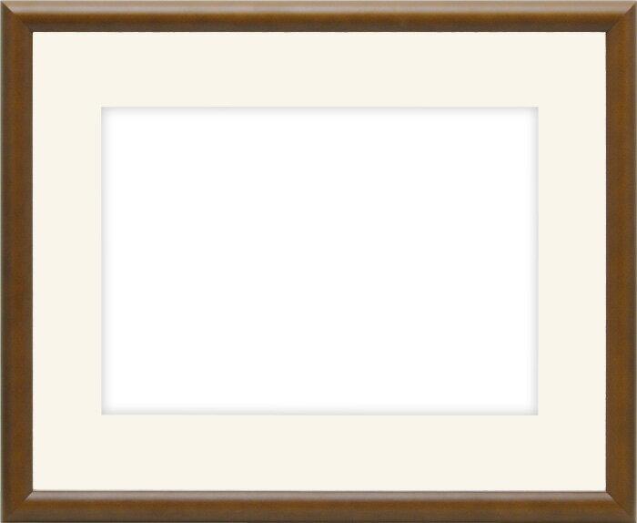 【キズあり品】水彩額 J型/チーク 水彩F8(455×380mm)専用 ☆前面ガラス仕様☆マット付き