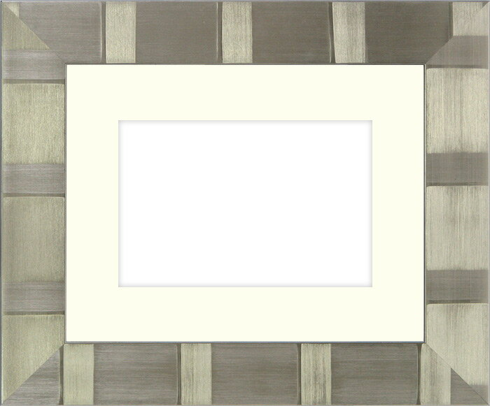写真用額縁 8108/シルバー Lサイズ(127×89mm)専用☆前面ガラス仕様☆マット付き【写真額】