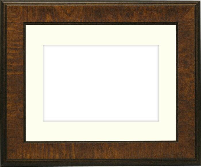 写真用額縁 8137/ブラウン A3(420×297mm)専用☆前面ガラス仕様☆マット付き【写真額】