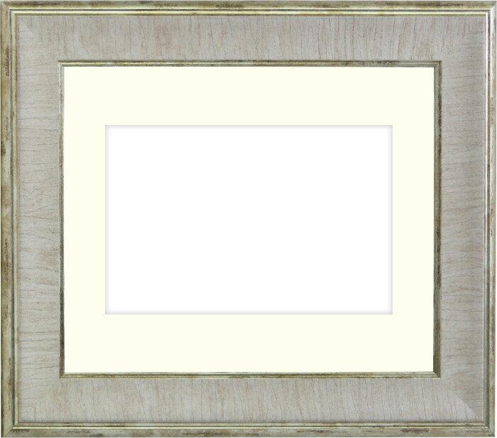 写真用額縁 8137/アイボリー Lサイズ(127×89mm)専用☆前面ガラス仕様☆マット付き【写真額】