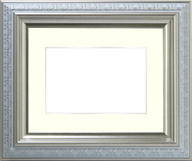 写真用額縁 9586ホワイト/シルバー A4(297×210mm)専用☆前面ガラス仕様☆マット付き(銀色細縁付き)【写真額】【絵画/壁掛け/インテリア/玄関/アートフレーム】