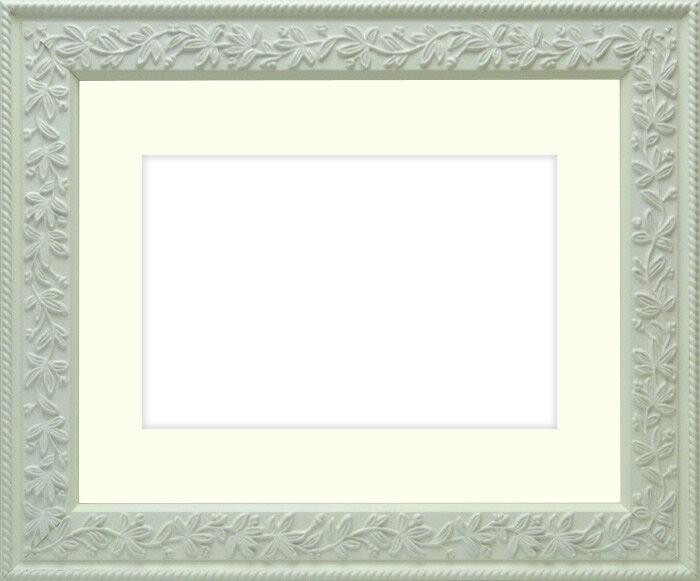 写真用額縁 9855/白 A4(297×210mm)専用☆前面ガラス仕様☆マット付き【写真額】
