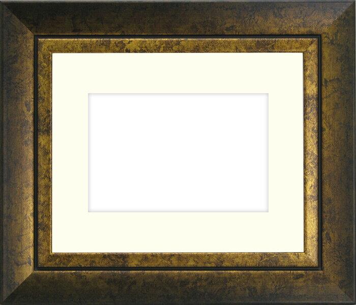 写真用額縁 シャドウ/ゴールド パノラマ(254×89mm)専用☆前面ガラス仕様☆マット付き【写真額】