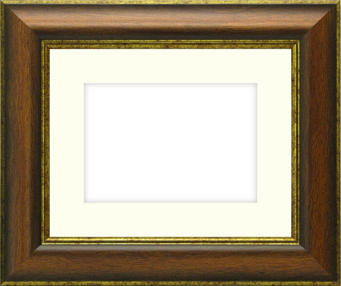 【キズ・ヘコミ有り】写真用額縁 9640/Gブラウン パノラマ(254×89mm)☆前面ガラス仕様☆マット付き