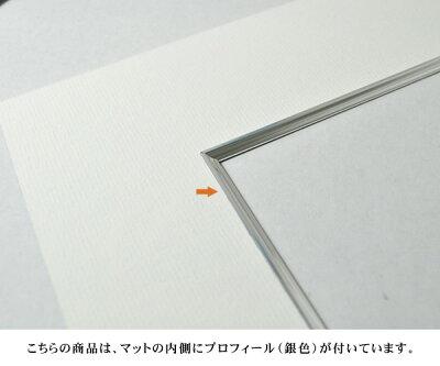 写真用額縁エスポワール/シルバー写真六つ切(254×203mm)☆前面ガラス仕様☆マット付(銀色細縁付き)