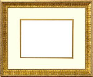 写真用額縁 8143/ゴールド 写真W四つ切(366×254mm)専用 ☆前面アクリル仕様☆ マット付き(金色細縁付き)【写真額】【絵画/壁掛け/インテリア/玄関/アートフレーム】