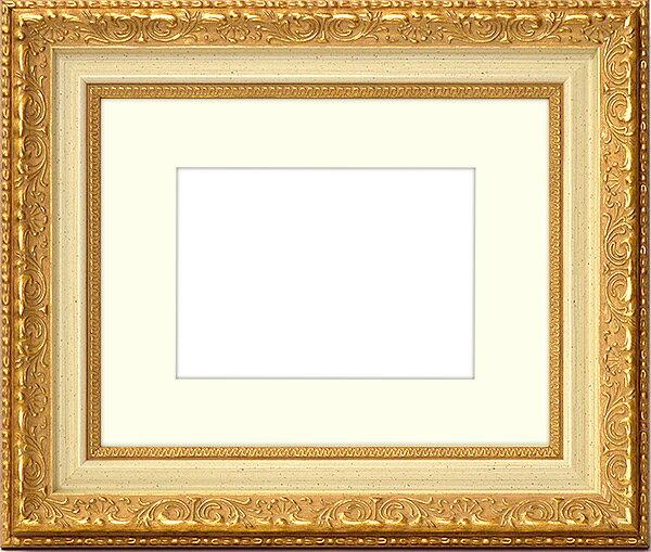 写真用額縁 8200/ホワイトゴールド キャビネ(180×130mm)専用 ☆前面ガラス仕様☆ マット付き【写真額】