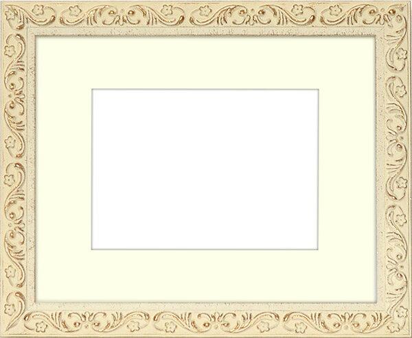 写真用額縁 8201/ホワイト 写真六つ切(254×203mm)専用 ☆前面ガラス仕様☆ マット付き【写真額】【絵画/壁掛け/インテリア/玄関/アートフレーム】