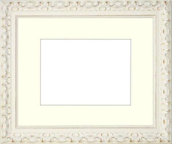写真用額縁 アラスカ/白G キャビネ(180×130mm)専用 ☆前面ガラス仕様☆ マット付き【写真額】