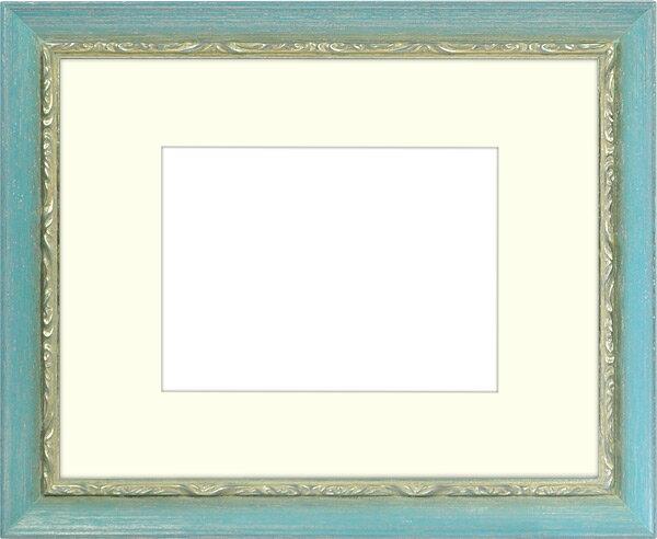 写真用額縁 モナコ/青 写真B4(364×257mm)専用 ☆前面ガラス仕様☆ マット付き【写真額】
