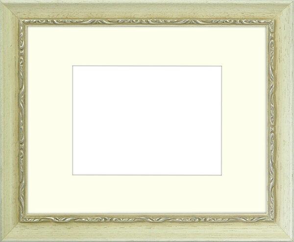 写真用額縁 モナコ/白 写真六つ切(254×203mm)専用 ☆前面ガラス仕様☆ マット付き【写真額】【絵画/壁掛け/インテリア/玄関/アートフレーム】
