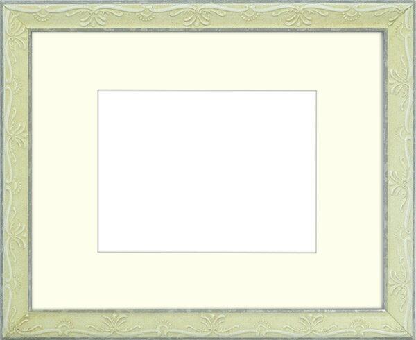 写真用額縁 ウィーン/白S 写真六つ切(254×203mm)専用 ☆前面ガラス仕様☆ マット付き【写真額】【絵画/壁掛け/インテリア/玄関/アートフレーム】
