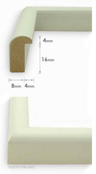 デッサン額縁J型/白三三サイズ(606×455mm)【木製額縁】【デッサン額縁】側面画像