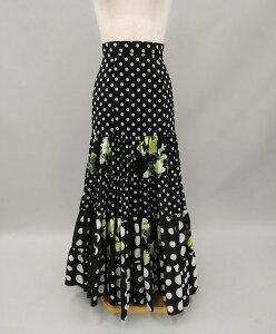 フラメンコ衣装スカート ファルダ 単品 黒 ブラック 白 水玉 バラ柄 イージーオーダー セミオーダー フラメンコ 衣装 ピッタリサイズ 普段着 日常のフラメンコ衣裳 踊りやすい ダンス衣