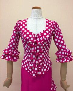 フラメンコ衣装 ブラウス フラメンコ水玉 ピンク白水玉 イージーオーダー セミオーダー ピッタリサイズ 踊りやすい ダンス衣装 ステージ衣装 舞台衣装 おしゃれ 高級感 ナジャハウス