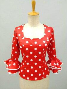 フラメンコ衣装 ブラウス フラメンコ水玉 赤白水玉 イージーオーダー セミオーダー ピッタリサイズ 踊りやすい ダンス衣装 ステージ衣装 舞台衣装 おしゃれ 高級感 ナジャハウス