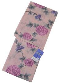 【特価品】 お仕立て上がり 綿絽 女浴衣 淡いローズピンク系花柄