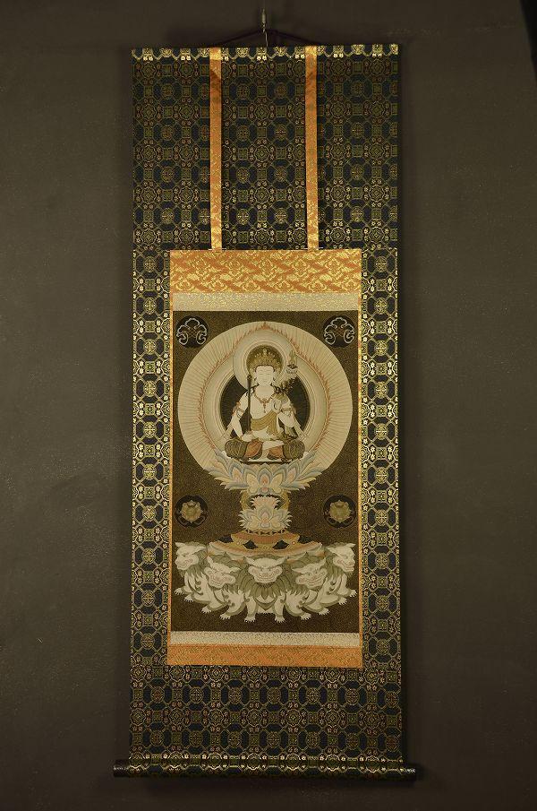 文殊菩薩 仏画掛け軸(半切サイズ)