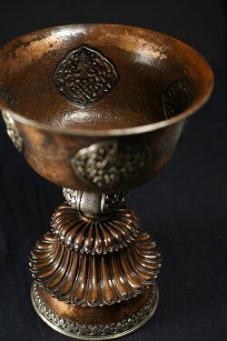 古仏器灯明台銅造銀象嵌彫金仕上げ