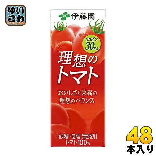 伊藤園 理想のトマト 200ml 紙パック 24本入×2 まとめ買い (野菜ジュース)〔トマトジュース 野菜ジュース とまとジュース 砂糖・食塩不使用 完熟トマト リコピン トマト100% 理想のとまと〕